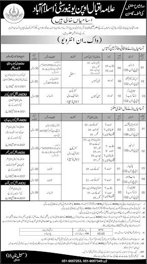 Allama Iqbal Open University Jobs 2021 AIOU JOB