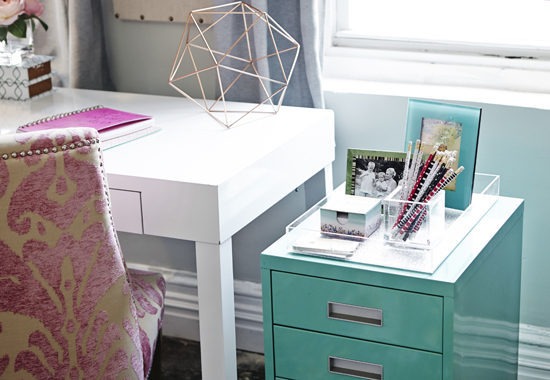 Same Story For Hardware Finishes A Bronze Task Lamp Rose Gold Accessories Nickel Nail Head Trim And Photo Frames