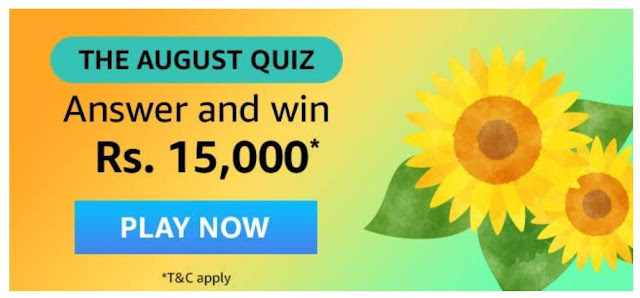 Amazon The August Quiz Answers 2020 And Win 15000 Rupees