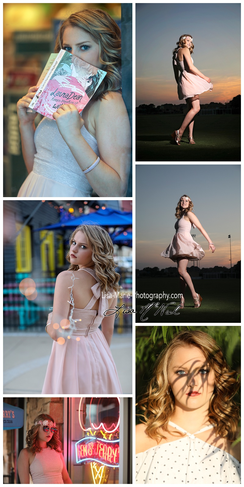 teen girl in pink dress - collage