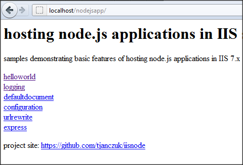 Installing and Running node js application with iisnode