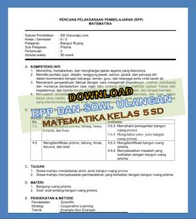 Download RPP MTK Kelas 6 Semester 1 dan 2 K13 Revisi 2018