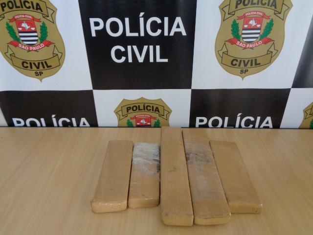 Polícia Civil apreende 5 tijolos de maconha no Vale do Ribeira