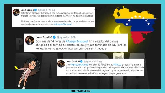 (Imagen) el Presidente Interino de Venezuela Juan Guaidó ha escrito varios tweets refiriéndose al 5to apagon en Venezuela
