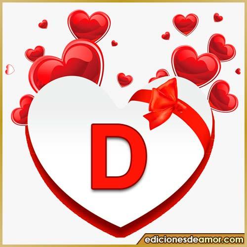 corazones volando con letra D
