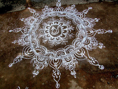Rangoli made with wheat flour