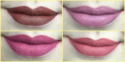 lip swatches of the kvd everlasting liquid lipsticks in Plath, Lovesick, Mother and double Dare