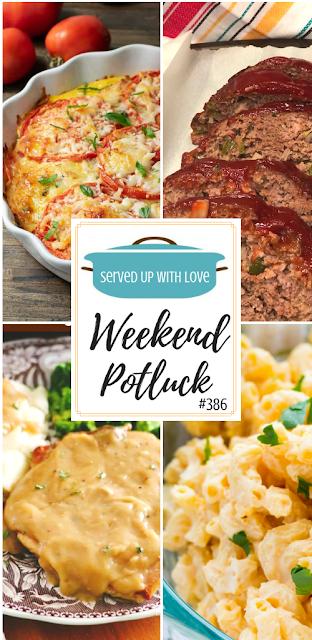 Deviled Egg Macaroni Salad, Crustless Tomato Pie, Mom's Classic Meatloaf, and Crock Pot Smothered Pork Chops.