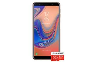 Samsung Galaxy A7 (2018) Single SIM 64GB 6.0-Inch FHD+ Android 8.0 Oreo UK Version Sim-Free Smartphone - Gold with 32GB Memory Card (Amazon Memory Edition)