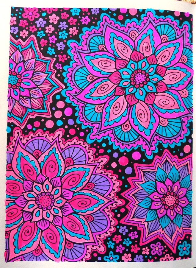 Coloring books fun: Mandalas and patterns, mixed media colored pages