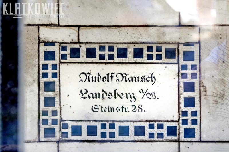 Gorzów. Płytka ceramiczna. Sygnatura. Rudolf Rausch Landsberg a/W. Steinstr. 28