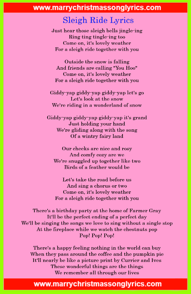 Sleigh Ride Lyrics Image