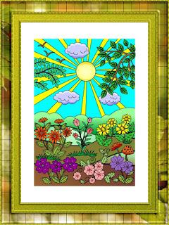 sunny flowery day framed