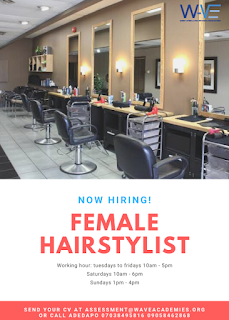 VACANCY: URGENT NEED FOR A FEMALE HAIRSTYLIST.