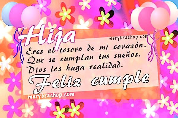 tarjeta con flores y globos para desear feliz cumpleaños a mi hija con mensaje bonito