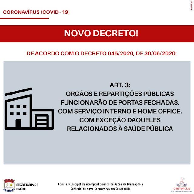 Prefeitura de Cristópolis impõe toque de recolher por 7 dias no município