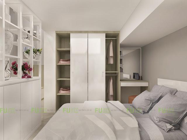 Thiết kế và thi công căn hộ chung cư ~30m2 có gác lửng - Phòng ngủ