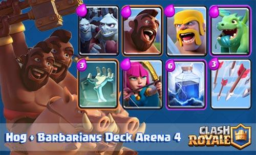 Strategi Serangan Deck Hog Rider dan Barbarians Arena 4