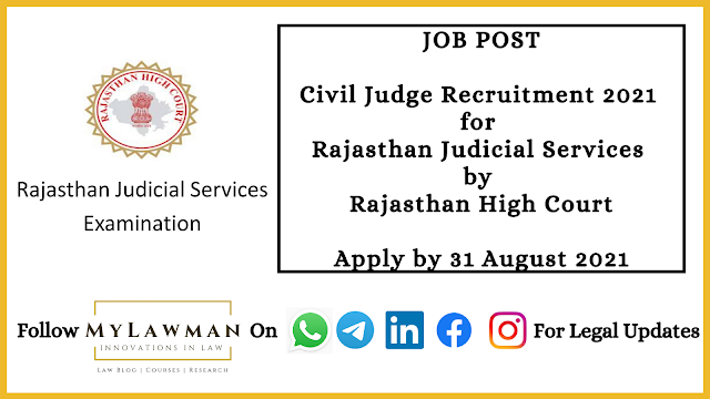 [Job Post] Civil Judge Recruitment 2021 for Rajasthan Judicial Services by Rajasthan High Court [Apply by 31 August 2021]