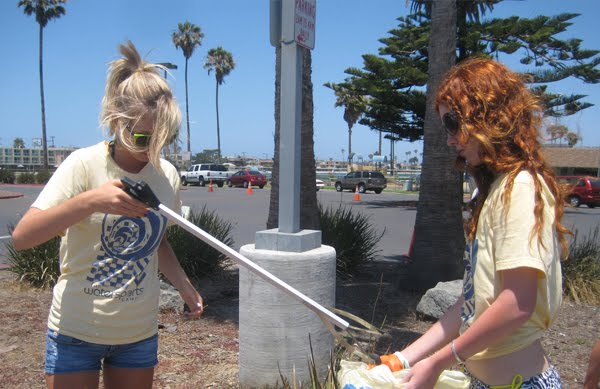 Volunteers clean up the beach