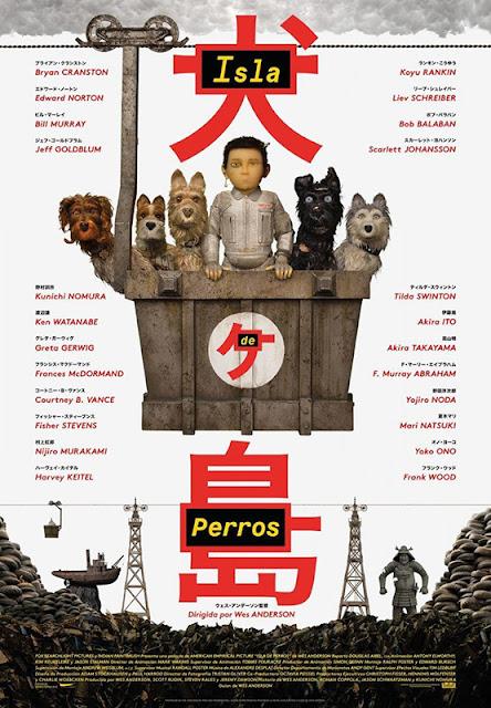 Cartel de la película de animación en stop motion Isla de Perros del director Wes Anderson