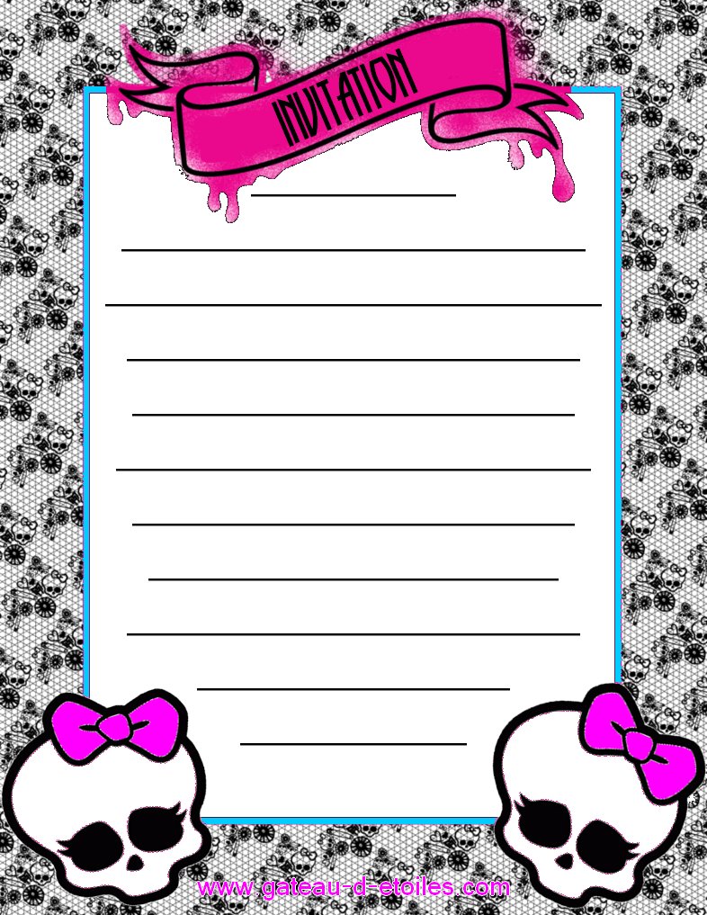 Pink monster high mini kit oh my fiesta in english - Carte invitation anniversaire monstre ...