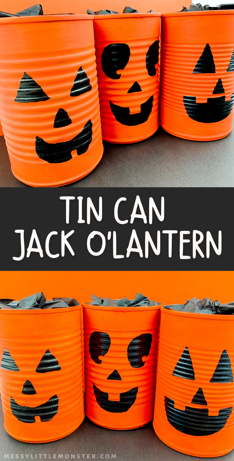 Tin Can Jack O Lantern Craft. easy Halloween craft for kids.