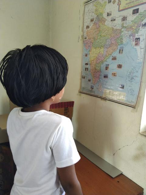 Jagriti looking at Indian Map