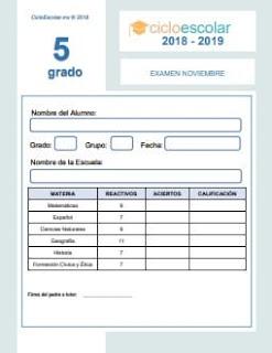 Examen Mensual Quinto grado 2018-2019