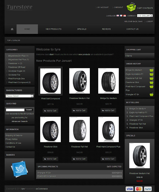 osCommerce 2.3.1 Template for Tyres Store