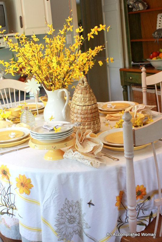 An Accomplished Woman Forsythia And Bees Tablescape