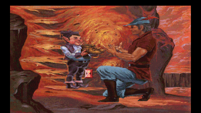 Screenshot of King Graham accepting shoes from an elf in King's Quest V