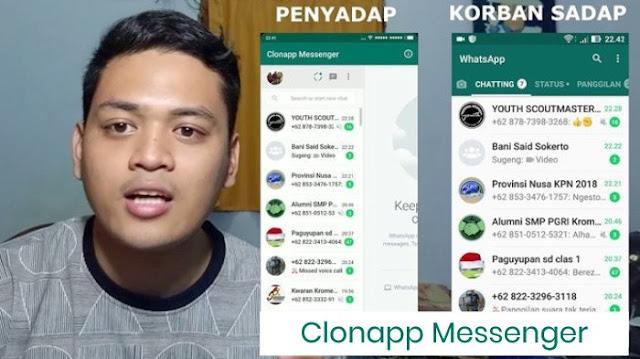 cara sadap wa dengan clonapp messenger terbaru