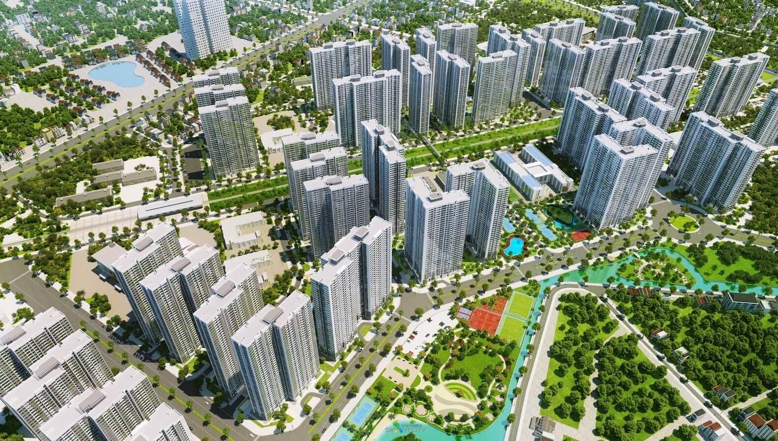 Tổng thể toà chung cư Vinhomes Smart City Tây Mỗ