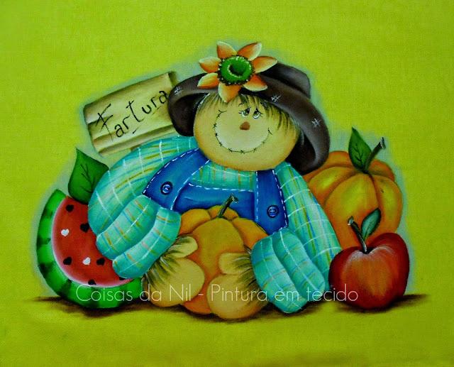 pintura em tecido estilo country de espantalho com frutas