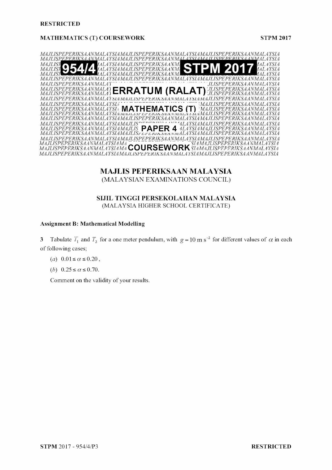 biology coursework stpm 2016