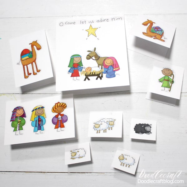 Supplies Needed for Folded Paper Nativity: White Cardstock Paper Paper Cutter Nativity Stickers  These stickers are not my designs or images, they are Me and My Big Ideas...but they are very hard to find...and are super popular! Really, they are so cute!  I have several of this sticker set for anyone interested in my Etsy Shop!