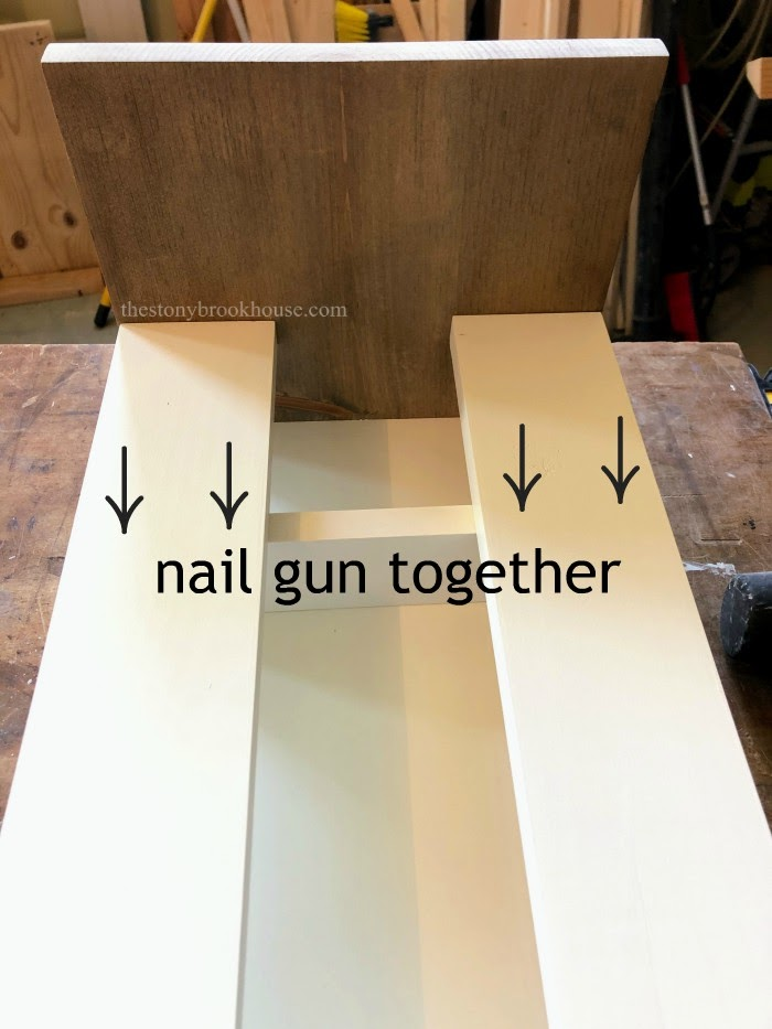 Nail gun shelf into place