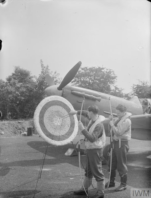 RAF No. 91 Squadron pilots playing archery, 23 July 1941 worldwartwo.filminspector.com