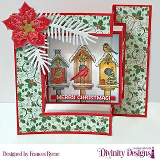 Stamp Set: Christmas Birdhouses  Custom Dies: Tri-Fold Card With Layers, Pinecones & Pine Branches, Peaceful Poinsettias, Christmas Dove (snowflakes), Sentiment Strips  Paper Collection: Holly Jolly