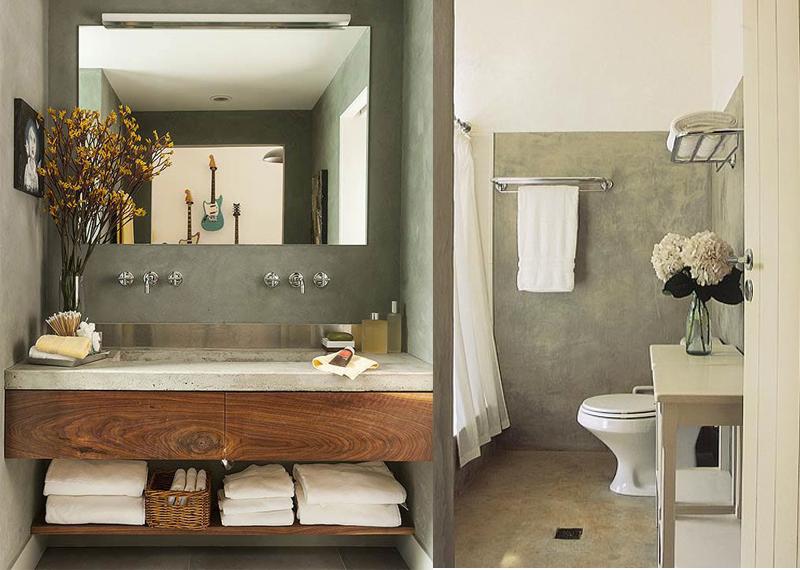 Decoração de Banheiro Sem Azulejo Idéias de Acabamentos Alternativos e Diver # Decoracao De Banheiro Com Cimento Queimado