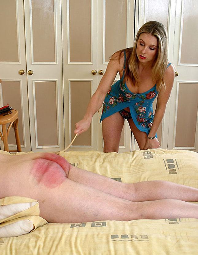 Over the knee femdom spanking