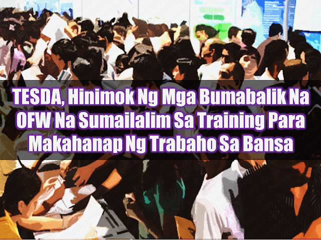 Technical Education and Skills Development Authority (TESDA) is urging returning overseas Filipino workers (OFW) to take the opportunity to be trained and improve their skills in construction, information technology, and business management fields to be able to increase their chances of  getting hired and find local jobs so that they would not need to leave the country for work anymore. They will be conducting training in the aforementioned fields this coming April 5-6 in all TESDA Branches nationwide.  Advertisement        Sponsored Links        Included in construction-related courses are the following: • Carpentry • Construction painting • Electrical installation and maintenance • Heavy equipment operation • Masonry • Pipe-fitting • Plumbing • Scaffold Erection  IT-BPM related courses includes: • Contact center services • 2D animation • 3D animation • Game programming • Visual graphic design • Finishing course for legal transcriptionist • Medical transcription • Entry course for software developers • Computer systems servicing  For interested applicants, you may submit the following requirements at any TESDA branch near you: • I.D. • 1x1 photo • Birth certificate • Resume (for job seekers)  The program is open to all citizens with ages 18 and above. OFWs who return to the Philippines and are making their decision to stay home for good are also welcome. The TESDA training is timely especially to OFWs who are coming home from Kuwait, where there is presently an existing deployment ban. Read More:  Look! Hut Built For NPA Surrenderees  Cash Aid To Be Given To Displaced OFWs From Kuwait—OWWA    Skilled Workers In The UAE Can Now Have Maximum Of Two Part-time Jobs    Former OFW In Dubai Now Earning P25K A Week From Her Business    Top Search Engines In The Philippines For Finding Jobs Abroad    5 Signs A Person Is Going To Be Poor And 5 Signs You Are Going To Be Rich    Tips On How To Handle Money For OFWs And Their Families    How Much Can Filipinos Earn 1-10 Years A
