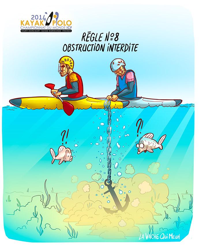 dessin humoristique pour les championnat du monde de kayak polo 2014