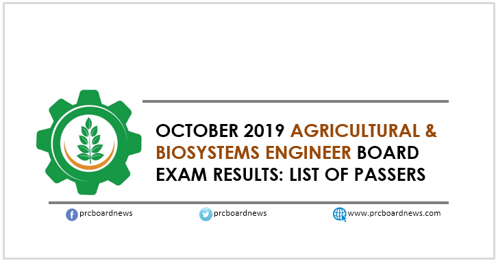 RESULT: October 2019 Agricultural and Biosystems Engineer board exam list of passers