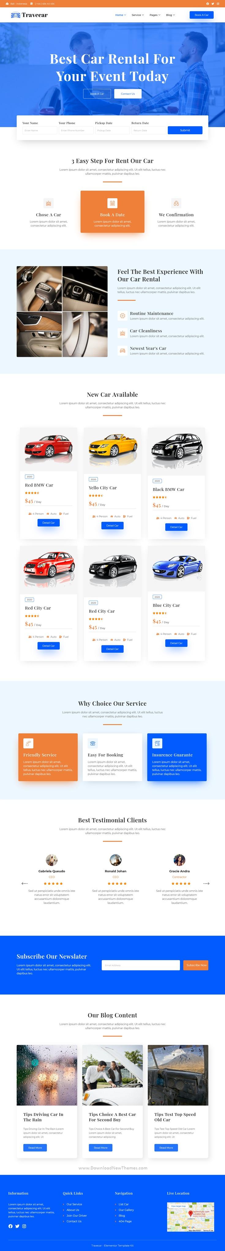 Car Rental Elementor Template Kit