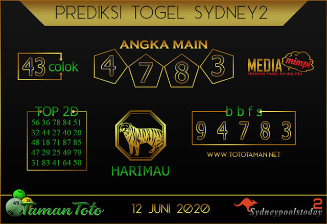 Prediksi Togel SYDNEY 2 TAMAN TOTO 12 JUNI 2020