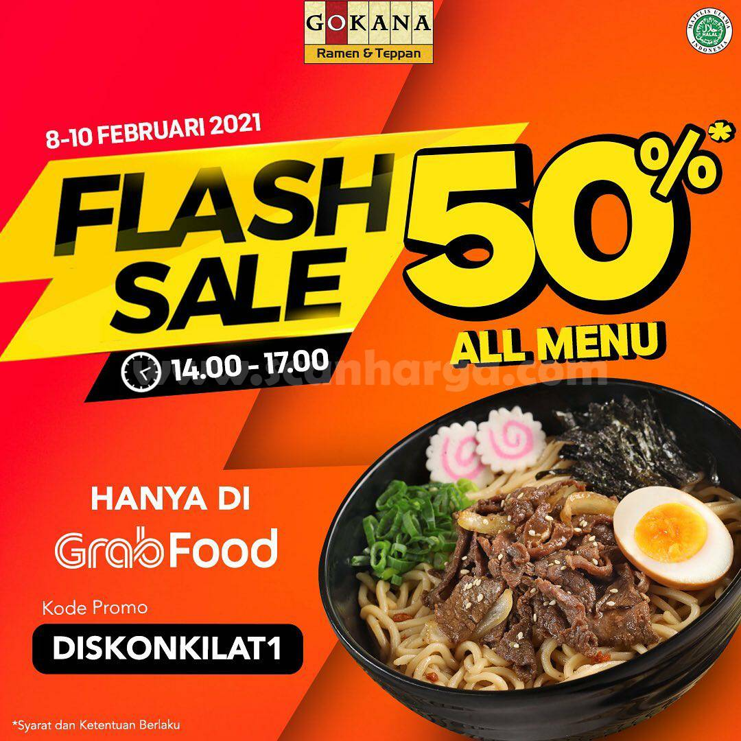 GOKANA Promo GRABFOOD FLASH SALE! DISKON 50% ALL MENU*