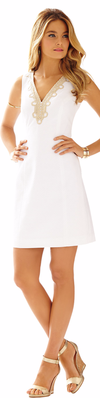 LILLY PULITZER BENTLEY V-NECK SHIFT DRESS WHITE