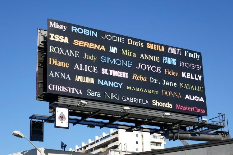 MasterClass Womens History Month billboard